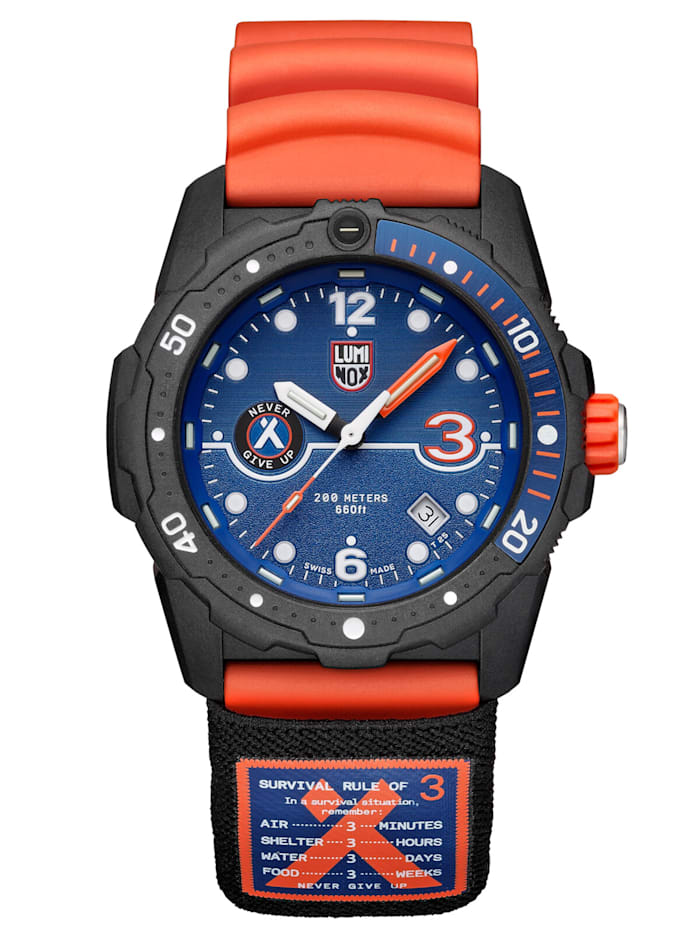 Luminox Herren-Taucheruhr Bear Grylls Survival Orange/Blau, Blau