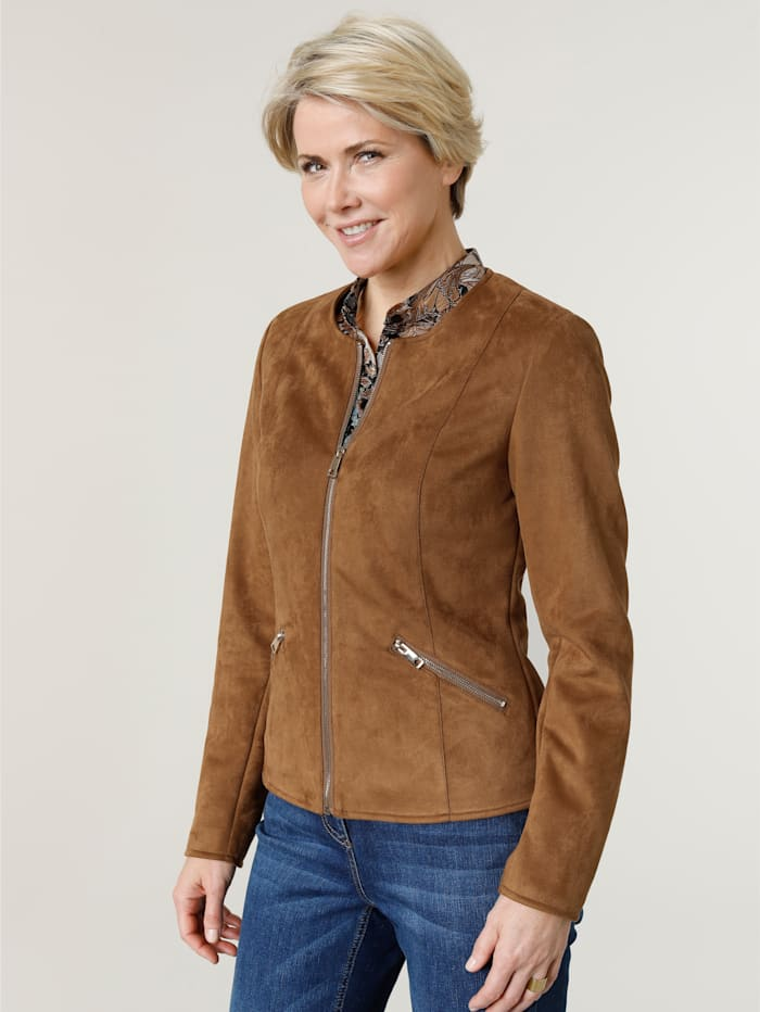 MONA Jacket made from soft faux suede, Cognac