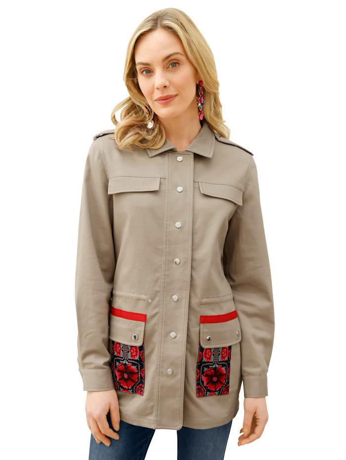 AMY VERMONT Jacke mit floralem Muster im Rücken, Taupe