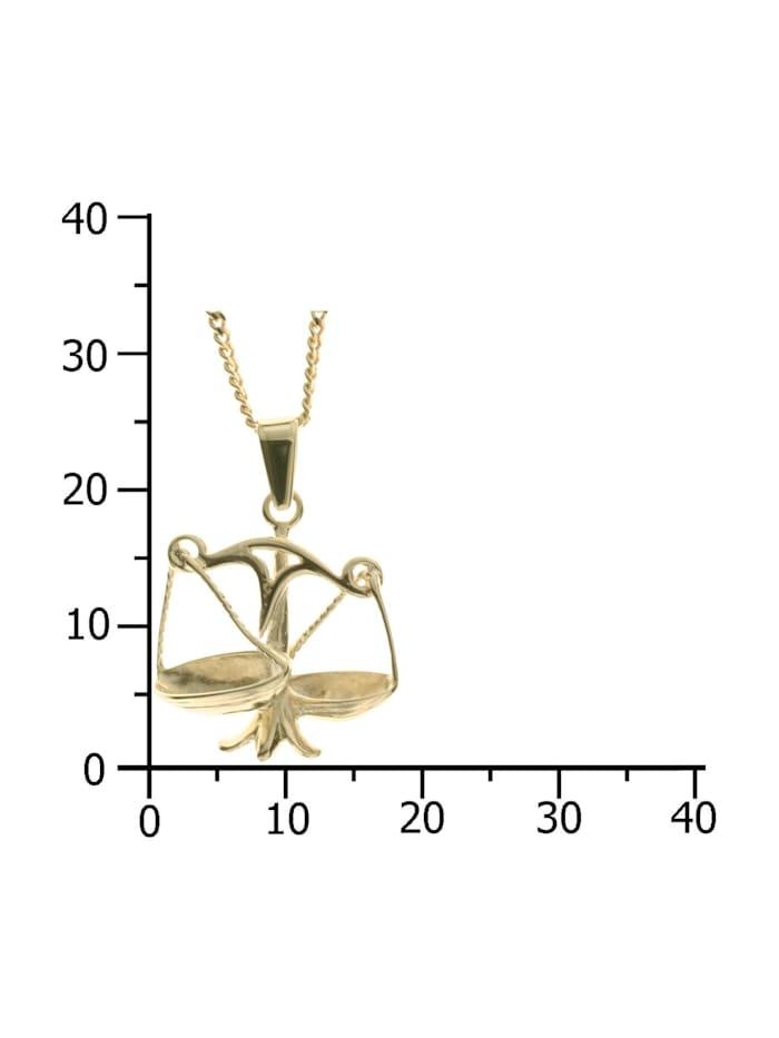 Kette mit Anhänger - Tierkreiszeichen Waage - Gold 333/000 - ,