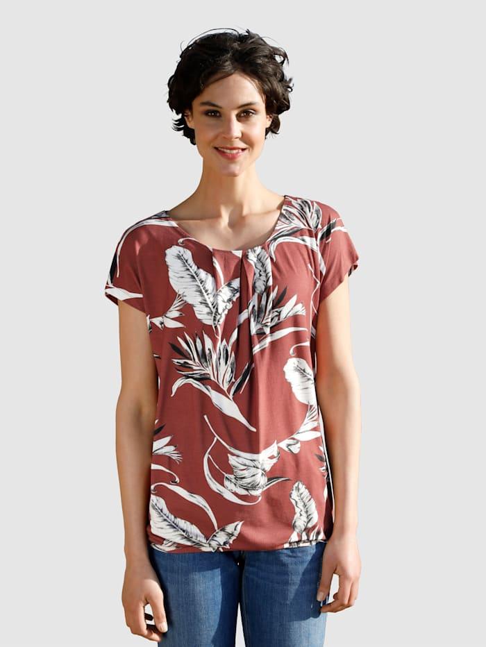 Dress In Tričko s kvetinovou potlačou, Hrdzavá