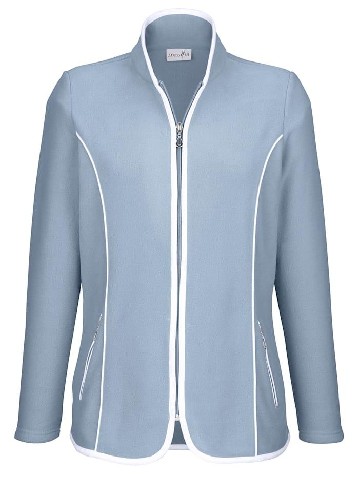 Dress In Fleece vest met contrastkleurige paspels, Blauw/Wit