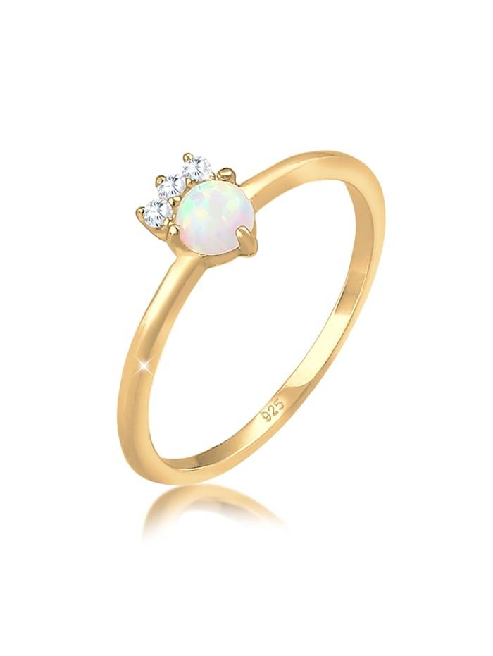 Elli Ring Vintage Zirkonia Kristalle Opal Trend 925 Silber, Gold