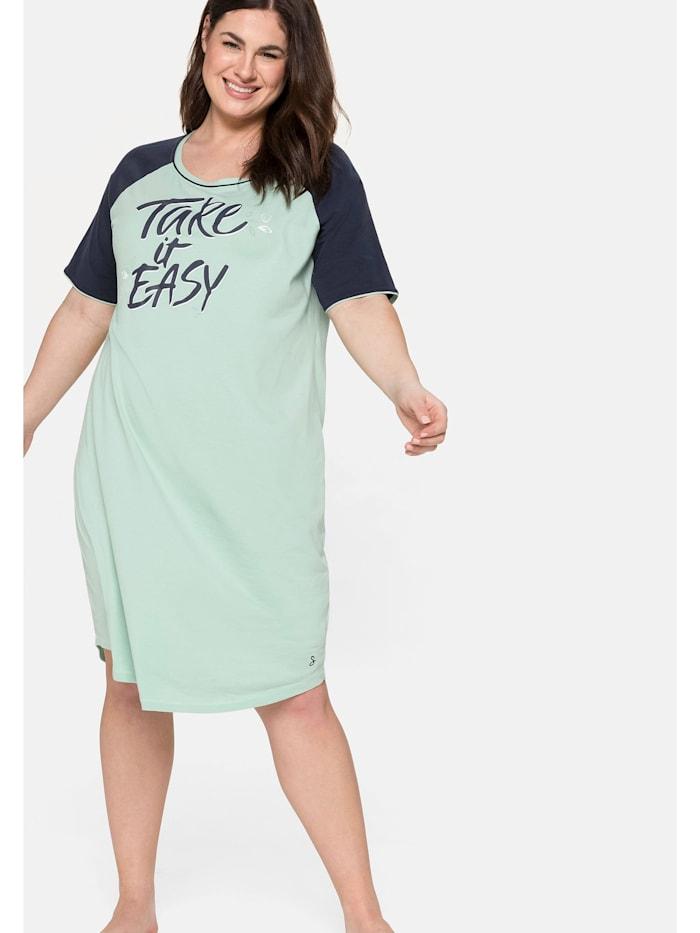 Sheego Nachthemd mit Frontdruck und Kontrastdetails, marine-grün