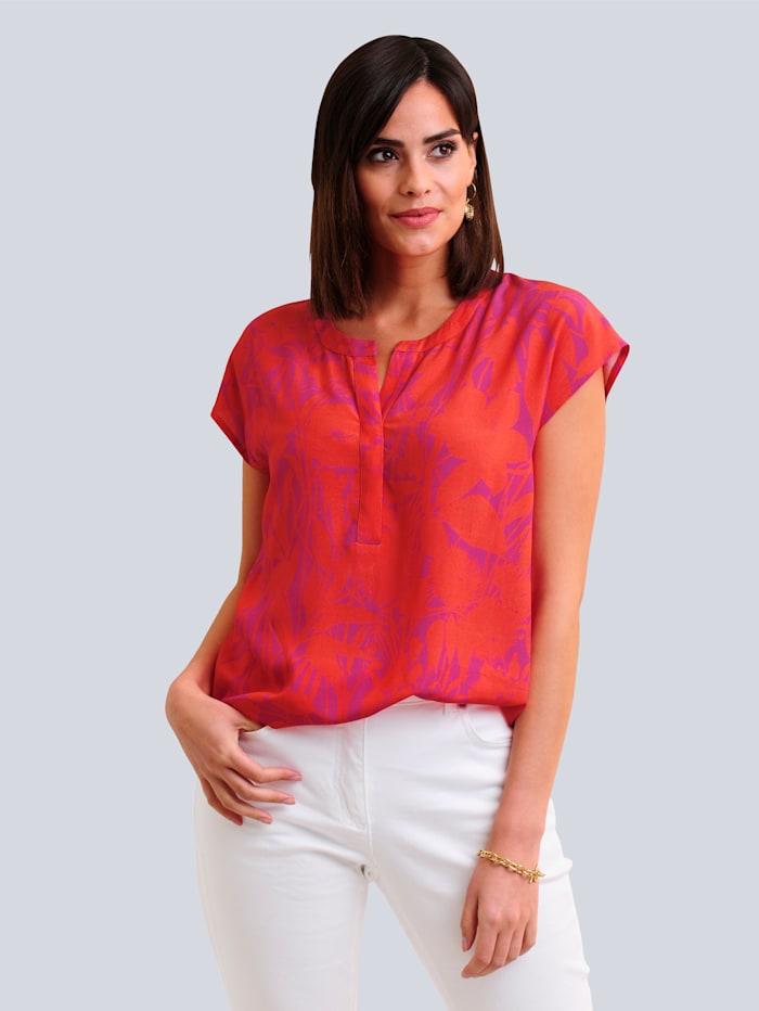Alba Moda Blusenshirt im floralen Print allover, Orange/Pink