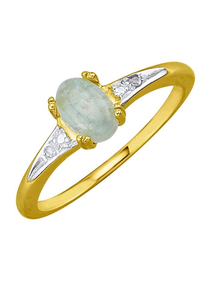 Damenring in Gelbgold 585, Blau