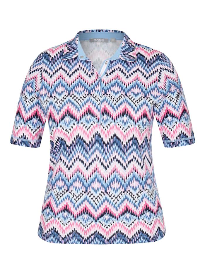 Rabe Shirt mit Polo-Kragen und Zick-Zack-Muster, SOFT BLUE