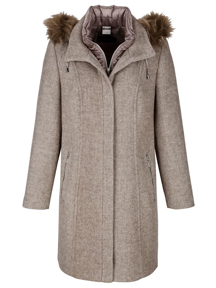 Manteau court en laine mélangée avec fausse fourrure