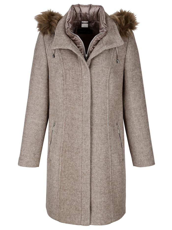 Wool-blend coat in faux fur