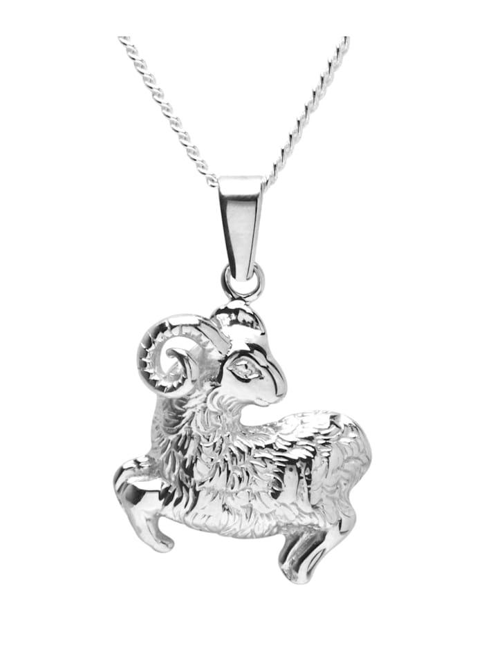 OSTSEE-SCHMUCK Kette mit Anhänger - Tierkreiszeichen Widder - Silber 925/000 - ,, silber