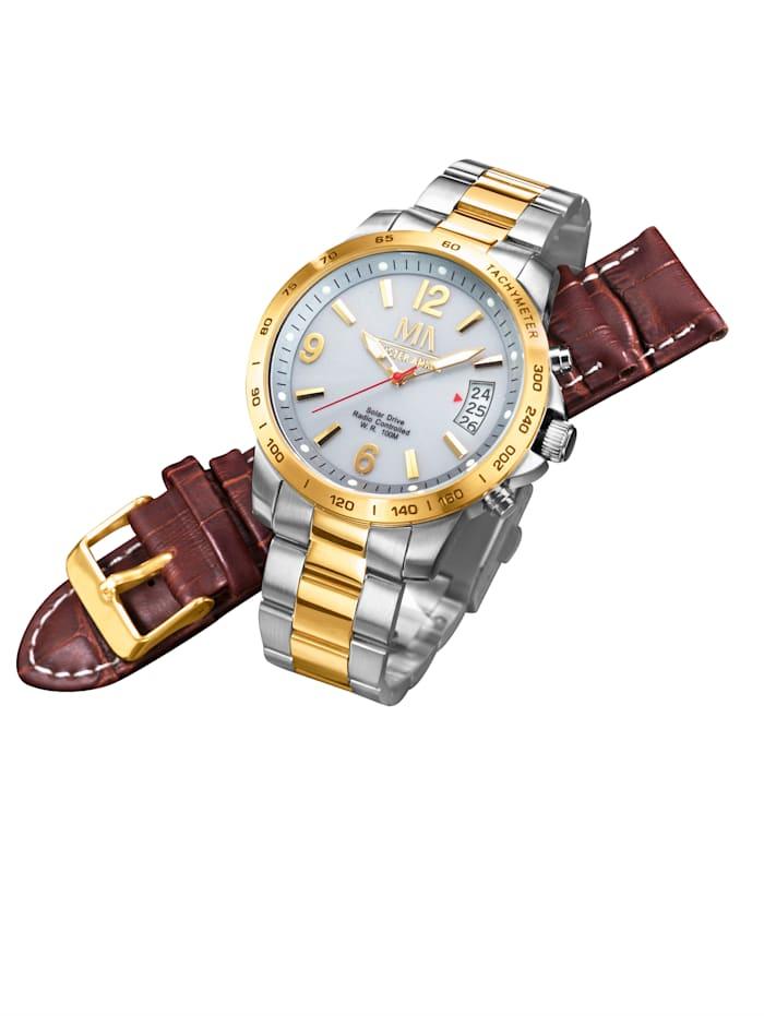 Meister Anker Pánské solární rádiem řízené hodinky, Stříbrná