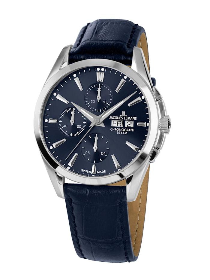 Jacques Lemans Herren-Uhr-Automatik-Chronograph Serie: Derby Automatic, Kollektion: Classic: 1- 1925C, Blau