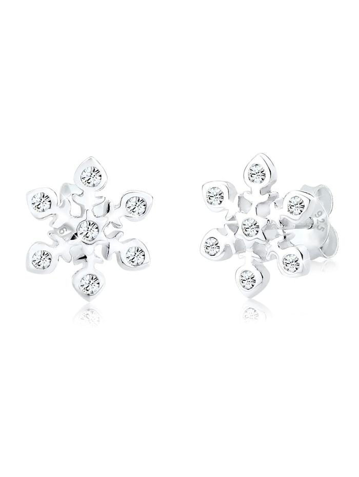 Elli Ohrringe Schneeflocke Weihnachten Swarovski® Kristalle Silber, Weiß