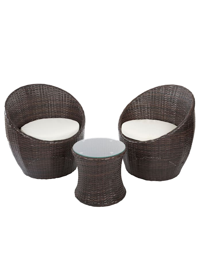 My Flair Outdoor Garten-Lounge-Set, 3-tlg., Braun