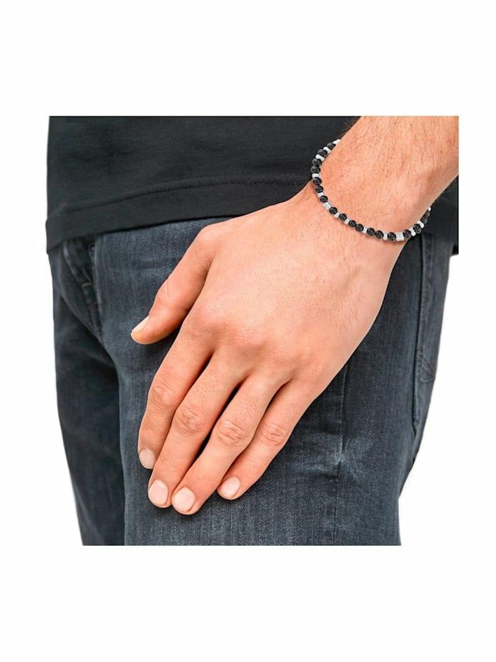 Armband für Herren, Edelstahl mit Achatsteinen schwarz