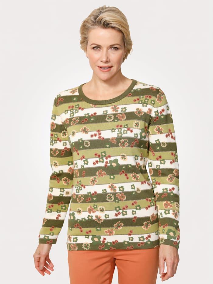 MONA Pullover mit bedruckten Blüten, Oliv/Pistaziengrün
