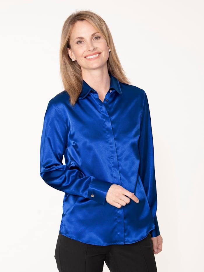 MONA Bluse aus elastischem Satin, Royalblau
