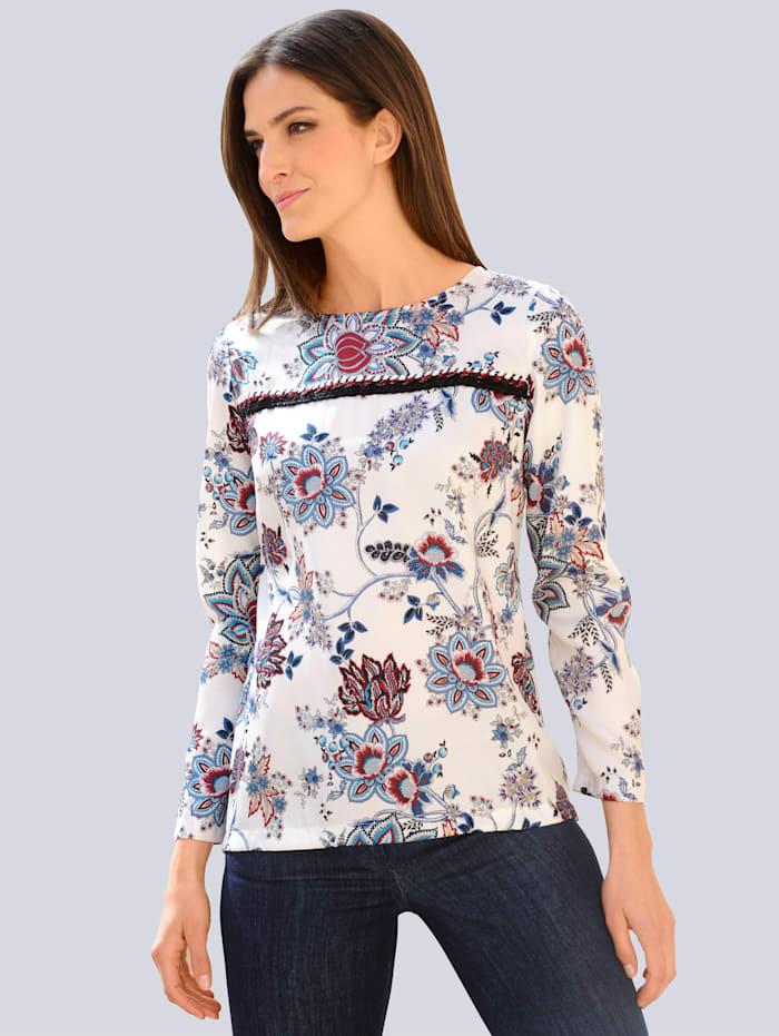 Alba Moda Bluse mit floralem Dessin, Off-white/Marineblau/Rot