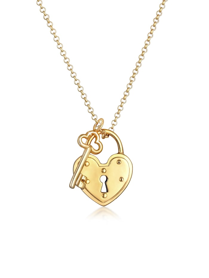 Elli Halskette Schloss Schlüssel Herz Anhänger Liebe 925 Silber, Gold