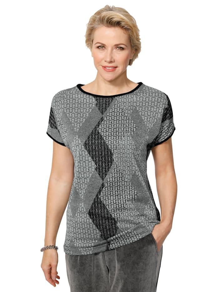 MONA Shirt aus grafischem Jacquard-Strick, Hellgrau/Anthrazit/Silberfarben
