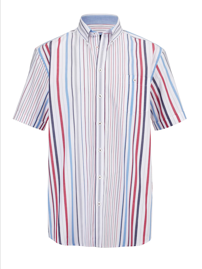 BABISTA Hemd mit garngefärtem Streifenmuster, Weiß/Rot