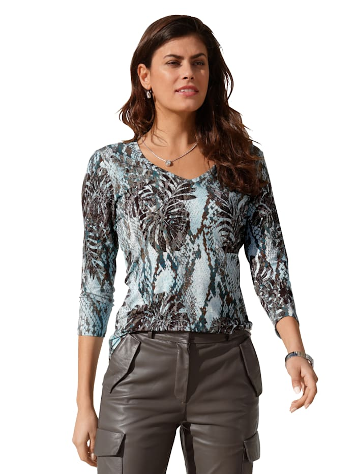 AMY VERMONT Shirt mit grafischem Muster, Off-white/Blau/Rost