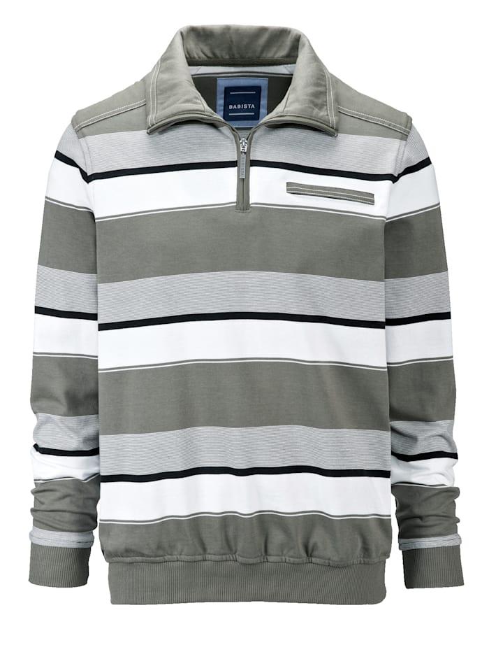 BABISTA Sweat-shirt avec un passepoil contrasté, Olive/Blanc