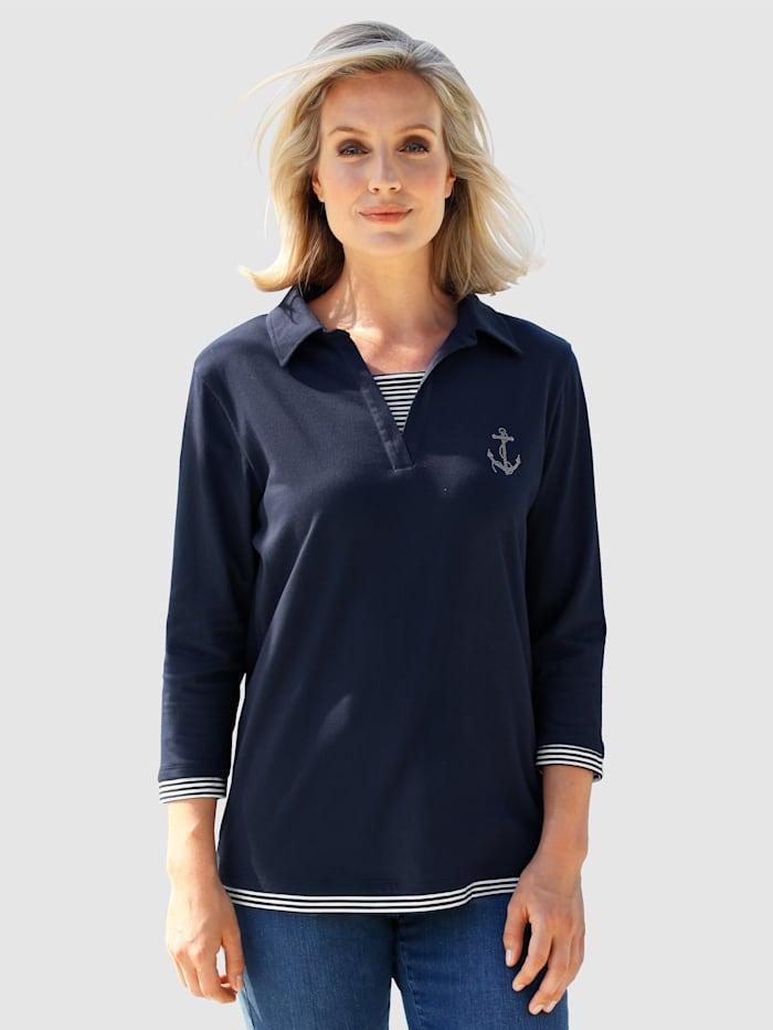 Poloshirt mit Streifeneinsätze