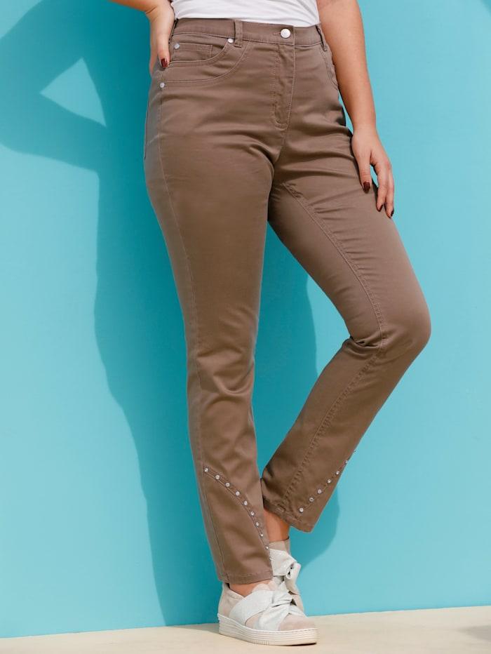 MIAMODA Jeans met decoratieve studs aan de zoom, Bruin