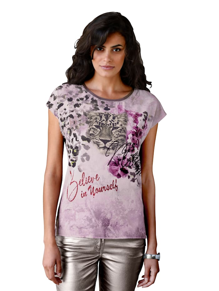 AMY VERMONT Shirt mit Druck im Vorderteil, Altrosa/Taupe/Lila