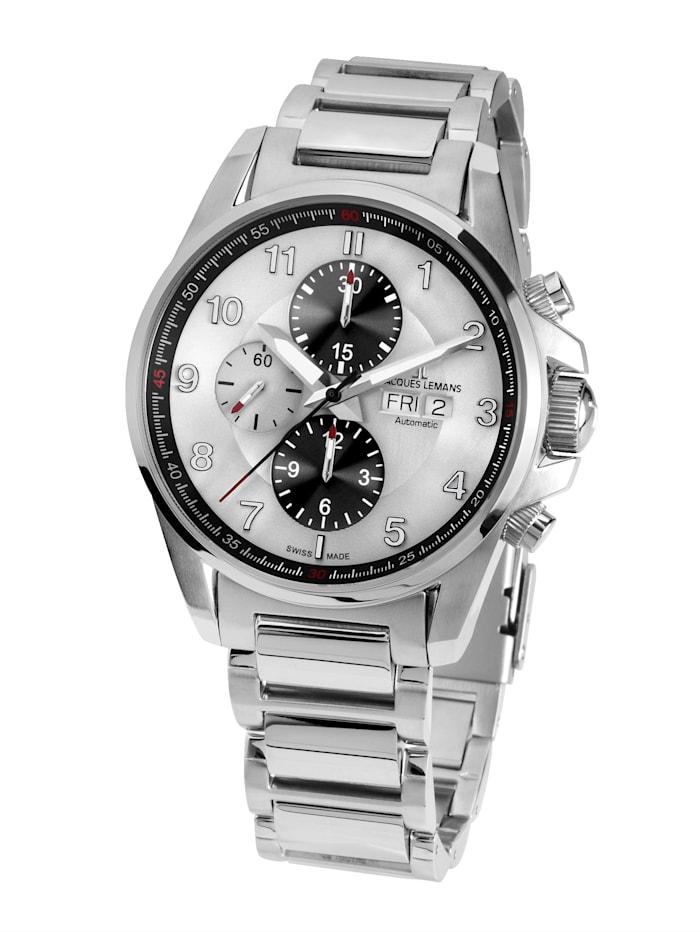 Jacques Lemans Herren-Uhr- Automatik-Chronograph Serie: Liverpool Automatic, Kollektion: Sport: 1- 1750E, Silberfarben