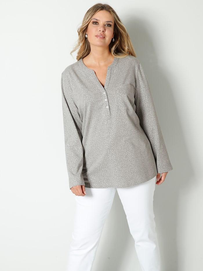 Janet & Joyce Shirt met zilverglans, Zilvergrijs