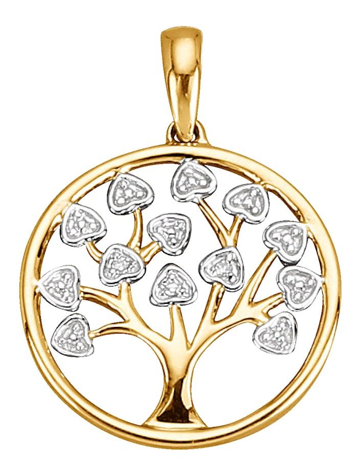 Baum-Anhänger mit Diamant, Gelbgoldfarben