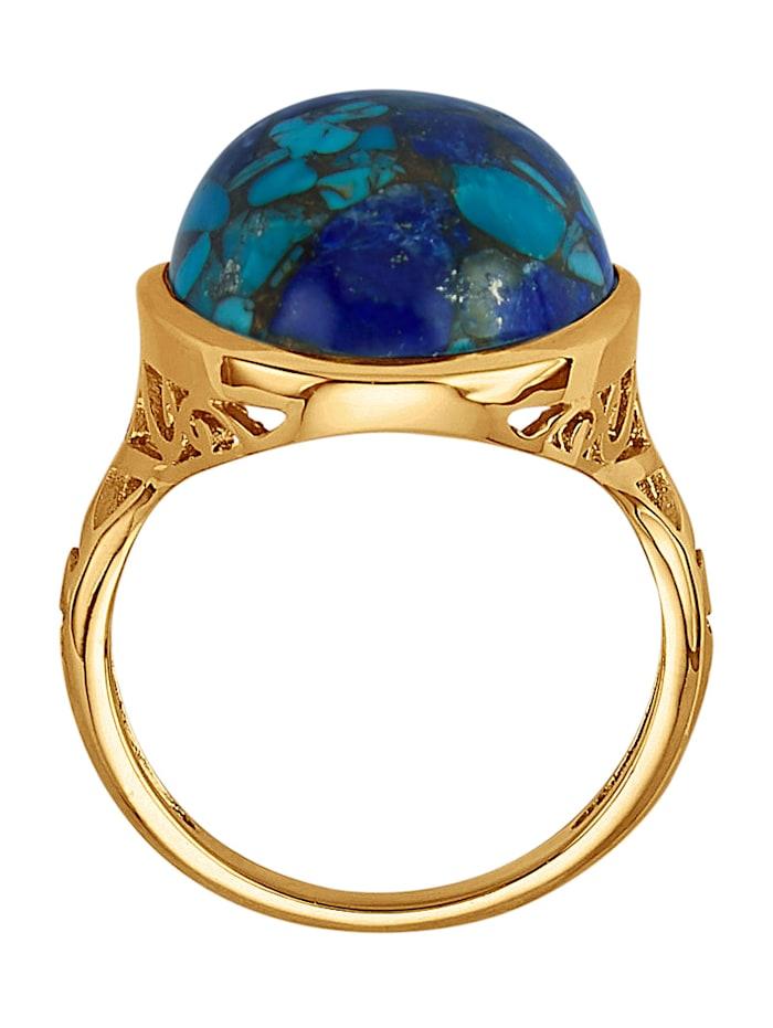 Bague avec turquoise, lapis-lazuli et cuivre (stab.)