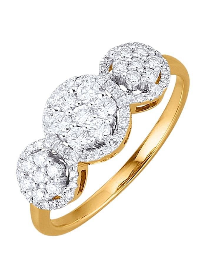 Amara Diamants Bague avec brillants et diamants, Blanc