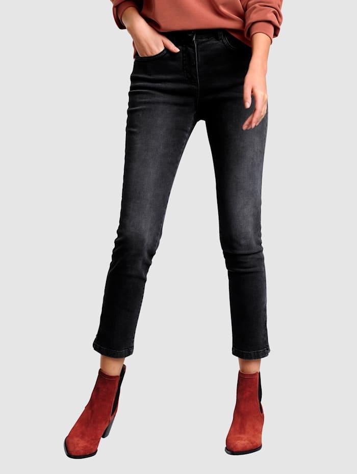 Alba Moda Jeans med strass på bakfickorna, Antracitgrå