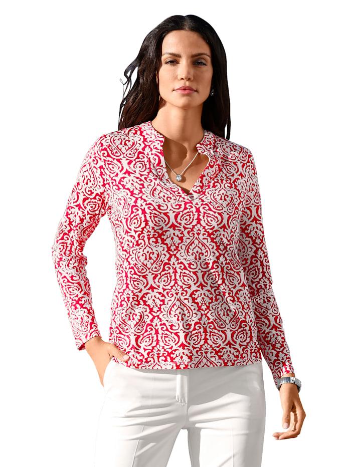 AMY VERMONT Shirt mit modischem Druck, Rot/Weiß