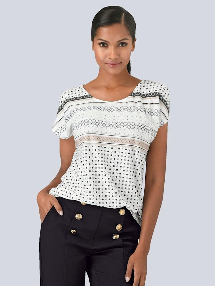 Alba Moda Shirt mit schönem Print im Vorderteil, Off-white/Grau/Beige