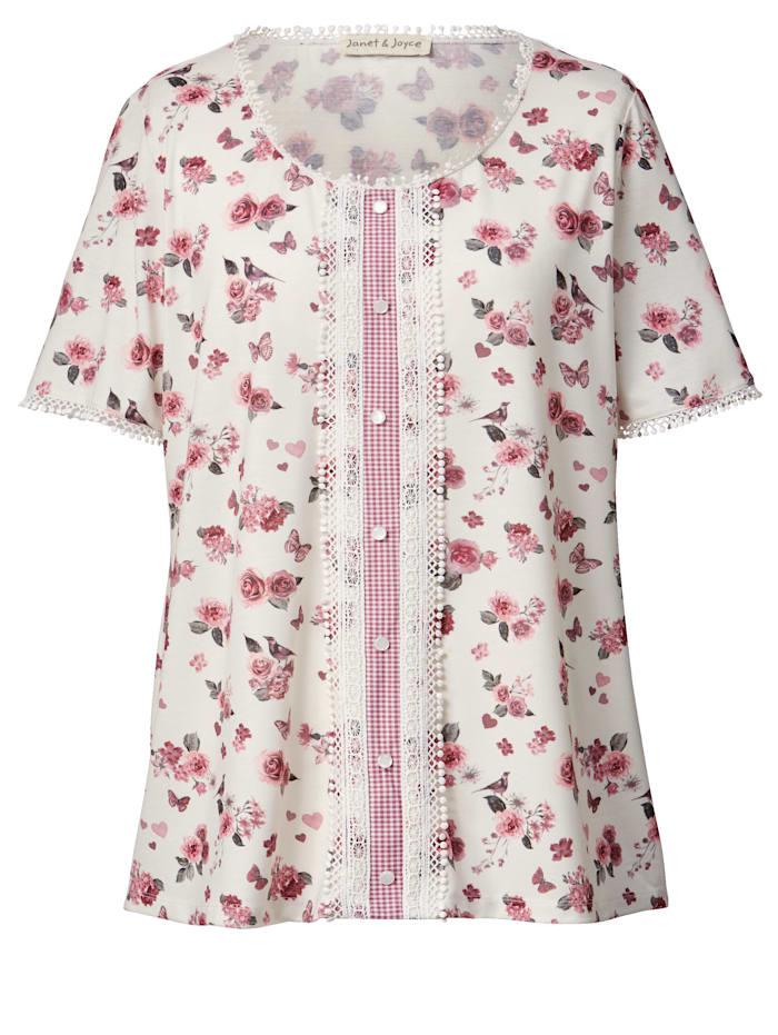 Trachten-Shirt mit Blumen-Print
