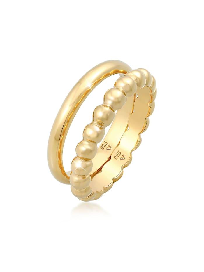 Elli Ring Bandring 2Er Set Basic Kugel Design 925 Silber, Gold
