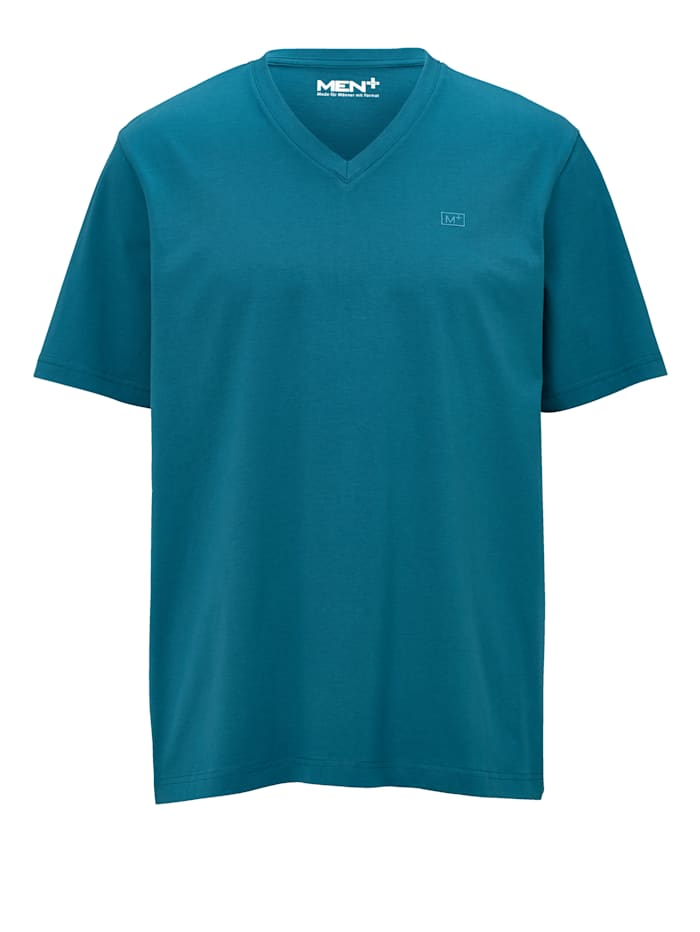 Men Plus V-ringad T-shirt, Petrol