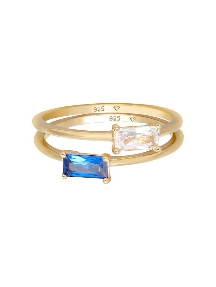 Ring Set Zirkonia Synthetischer Saphir 925 Vergoldet