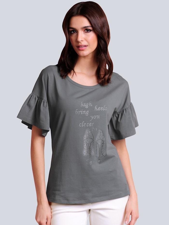 Alba Moda Shirt mit strassverziertem Motiv, Grau