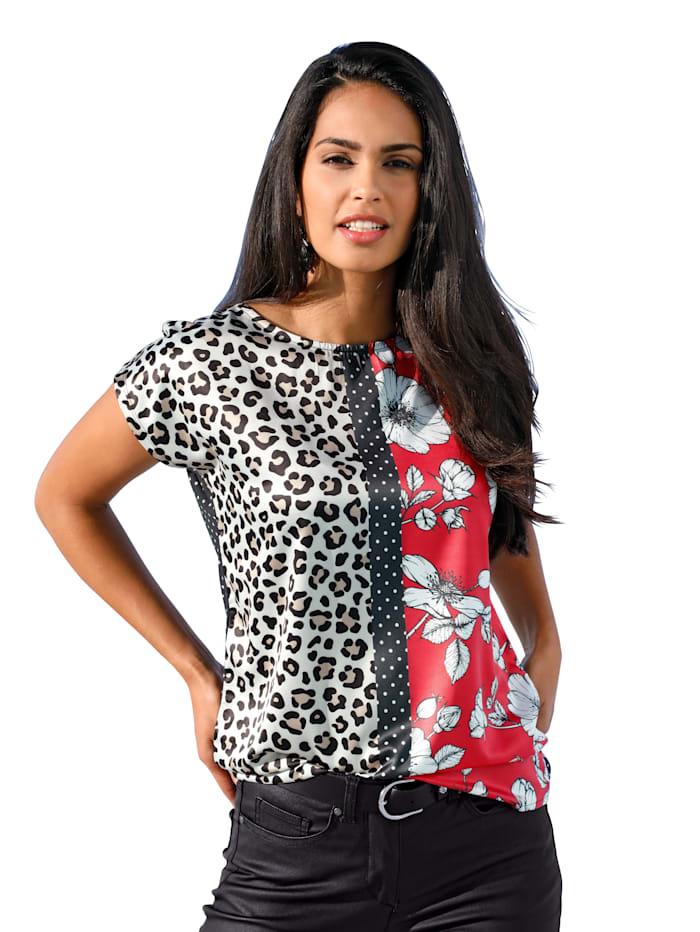 AMY VERMONT Shirt met patronen- en materialenmix, Zwart/Offwhite