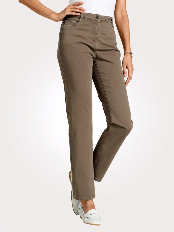 MONA Pantalon partiellement extensible en grandes tailles, Taupe