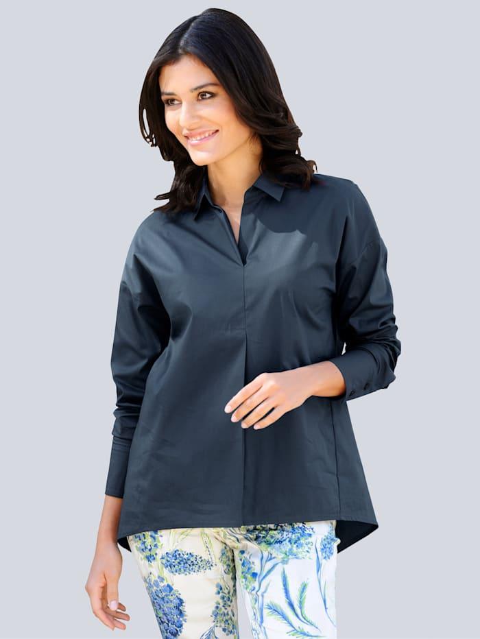 Alba Moda Bluse in aktueller Hemdblusenform, Marineblau