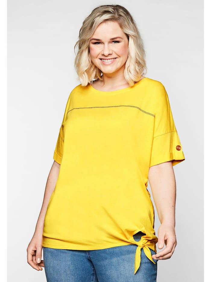 Sheego Shirt mit Ziernaht und Knotendetail am Saum, gelb
