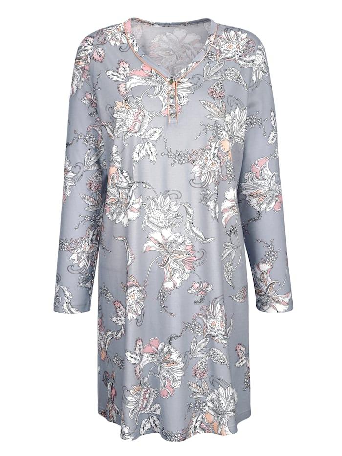 MONA Nightdress with chic contrast piping, Light Grey/Ecru/Apricot