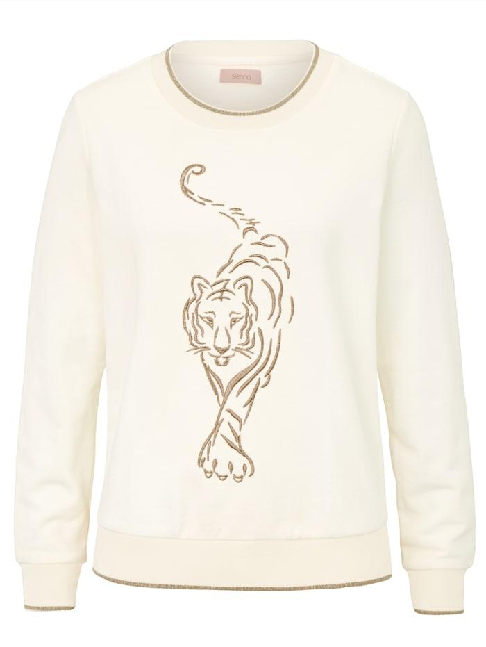 SIENNA Sweatshirt mit Stickerei, Off-white