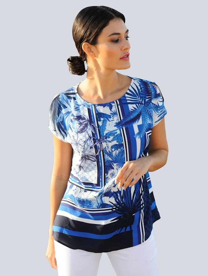 Alba Moda Blúzkové tričko s exkluzívnou Alba Móda potlačou, Námornícka/Modrá/Prírodná biela